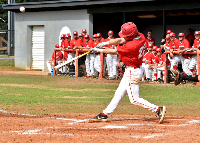 Garrett Breland had one RBI in Thursday's 3-2 loss to North Carolina Wesleyan in the opening round of the conference tournament.