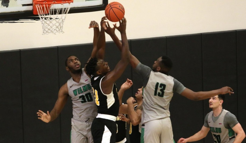 Copyright 2018; Wilmington University. All rights reserved. File photo of Vincent Kent and Miles Gillette battling tough on the defensive end against Felician, taken by Frank Stallworth. January 27, 2018 vs. Felician.