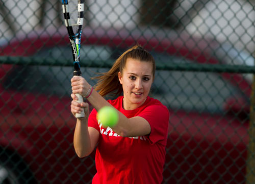 Alysia Rodgers earned points in the top doubles and singles flights to lead Dickinson past Georgetown (KY) on Tuesday<BR>