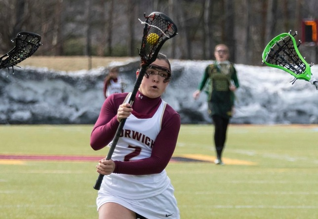 Olivia Bloom women's lacrosse action vs. Lyndon State