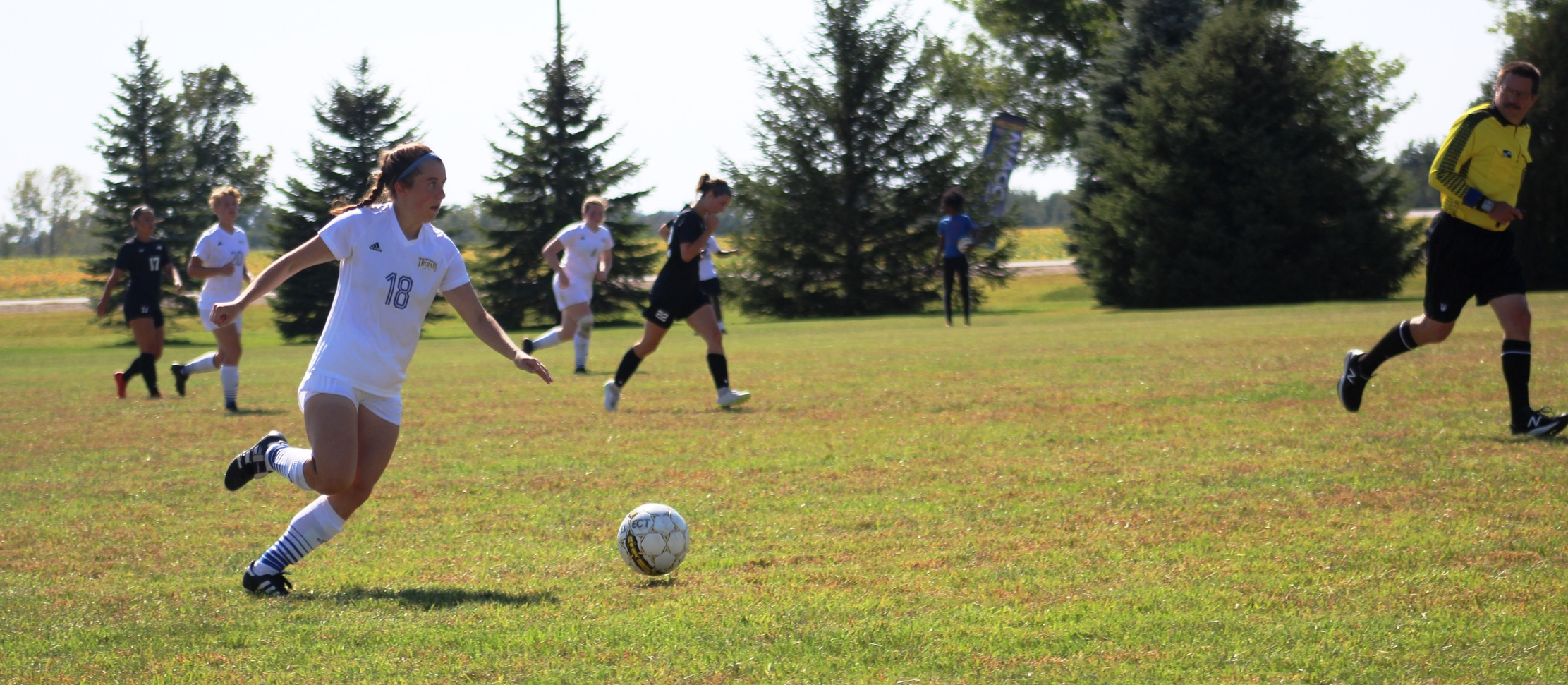 NIACC's Emily Jay moves the ball up the field in Wednesday's home match against Northeast CC.