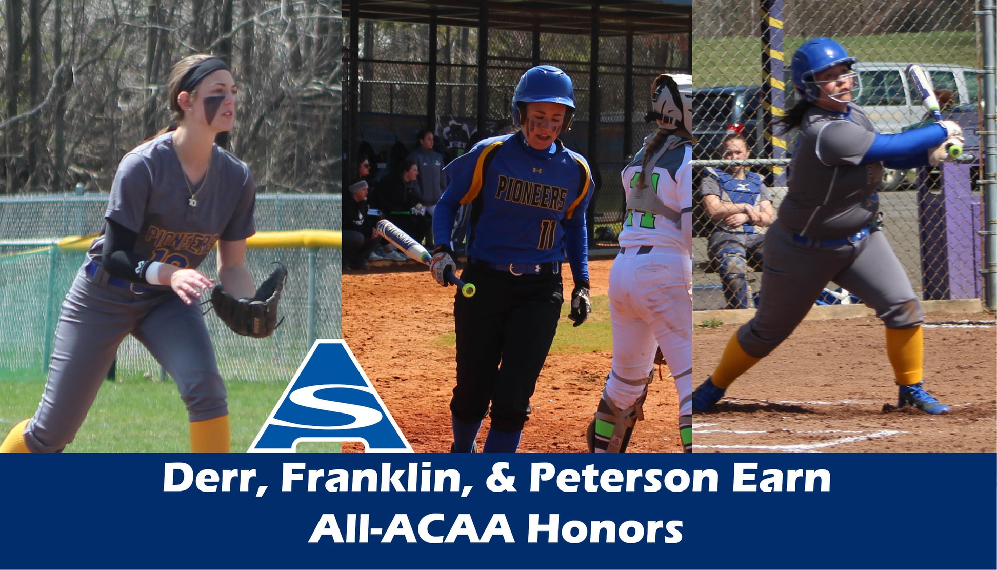 Zoe Derr, Morgan Franklin, and Ashley Peterson have been named All-ACAA
