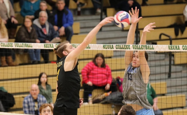 Christian Nickerson (1) had 8 kills for Keuka College on Sunday