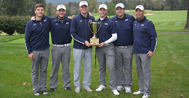 Victor Tavares '21, Kody Long '19, Joe Rochelle '19, Tyler Smith '18, Kevin Kunkle '18 and Head Coach Kevin Edwards '96 after winning the John Makuvek Cup for a third straight year in 2017.