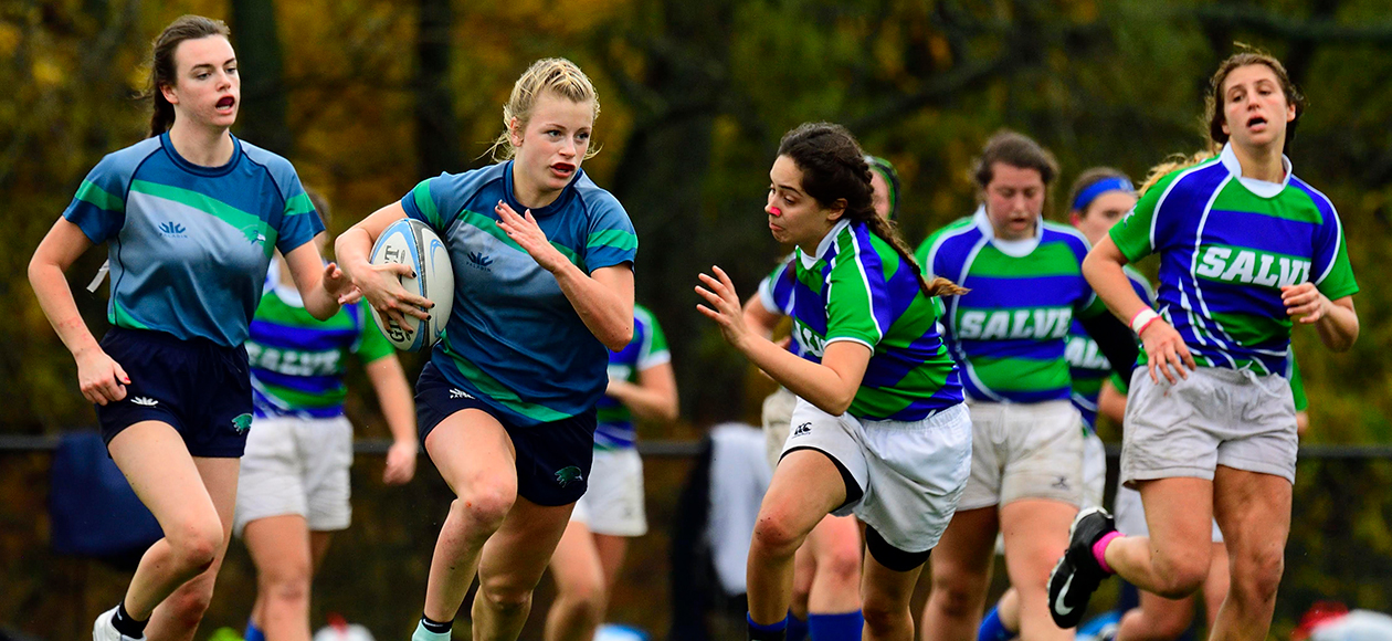Women's rugby action.