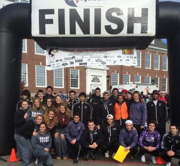 Members of the Men's Soccer and Men's and Women's Tennis Teams Volunteer at the Milton 5K Gobbler for Best Buddies