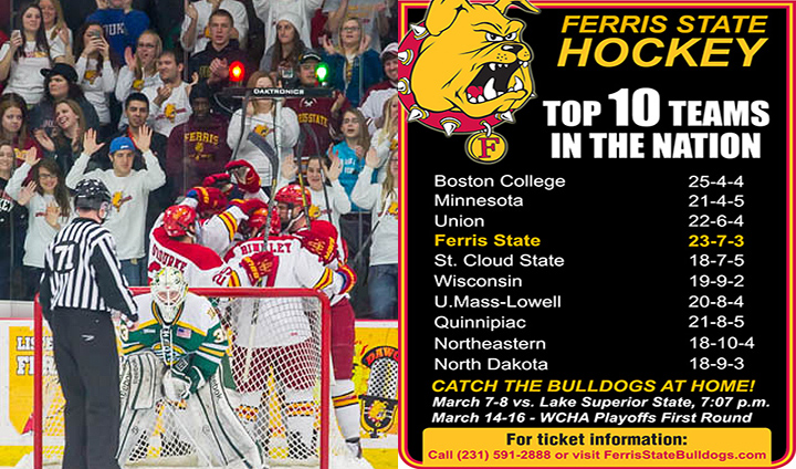 Ferris State Hockey Moves Back Up To #4 In The Nation This Week!