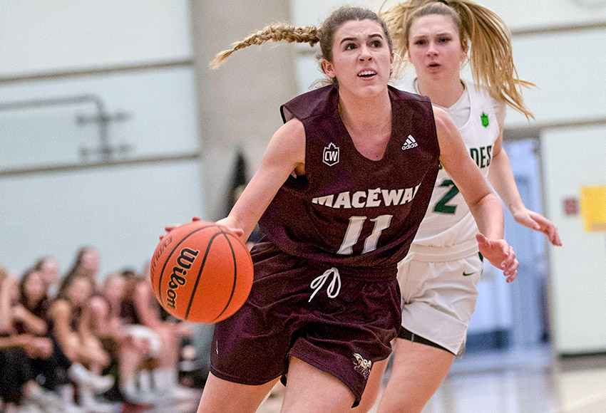 Mady Chamberlin rushes towards the hoop against UFV earlier this month. She leads the Griffins into action at Regina this weekend (Eduardo Perez photo).
