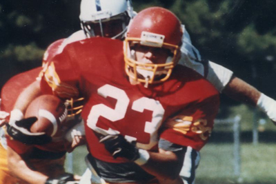The 1989 AFCA National Small College Player of the Year, Ricky Gales is the first player in the history of Simpson football to have his number (23) retired.
