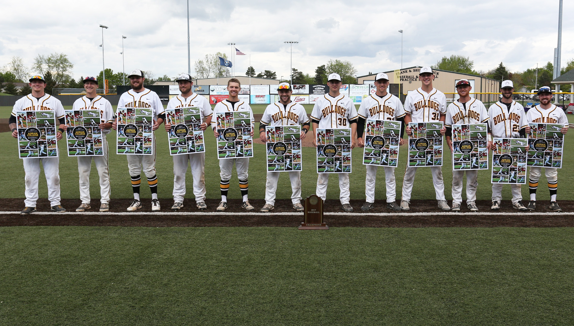 The 2017 Adrian College baseball senior class was honored between games in Saturday's doubleheader versus Hope College. (Photo by Mike Dickie)