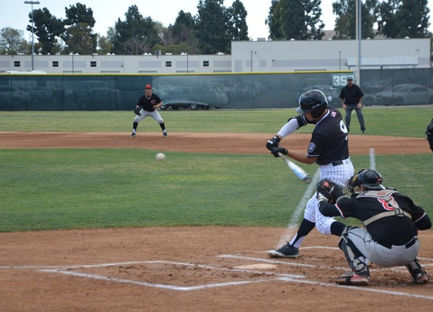 Sophomore outfielder Collin Perez at the dish against Chaffey College.
