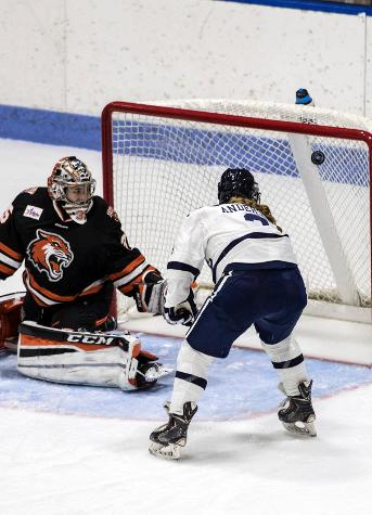 Laura Anderson scores her first career goal. (photo by Steve Musco)