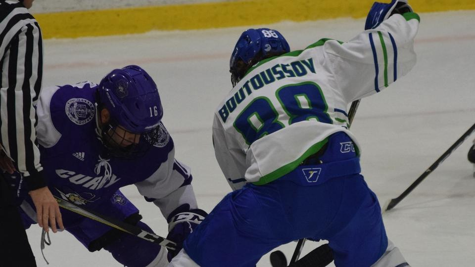 Paul Boutoussov scored three times in the Seahawks 6-3 win over Endicott College (Photo by Brett Wilkes)