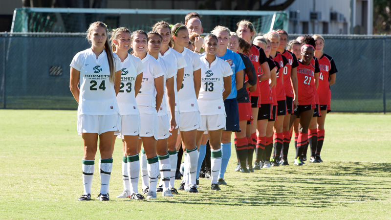 The women's soccer team fell, 2-0, in their final exhibition game this season.