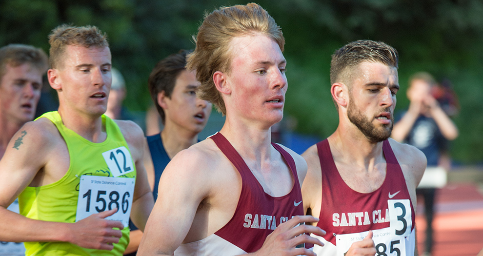 Jack Davidson (middle) has set two program records on the track in a little more than one season on the Mission campus.