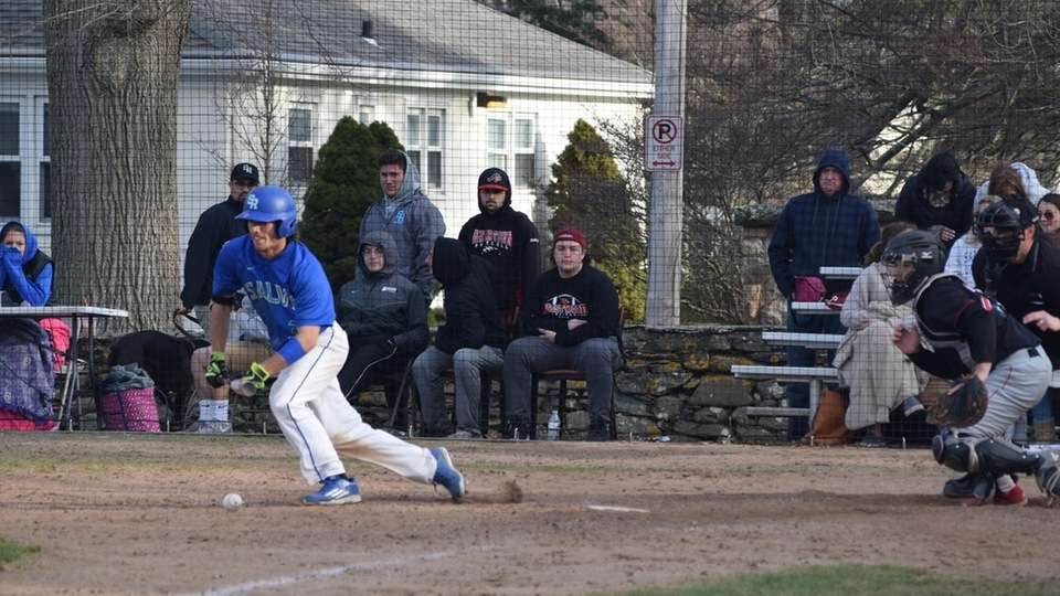 Brody Santilli lays down a bunt in a 6-4 win for Salve Regina over Wesleyan University