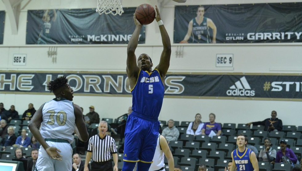 Jalen Canty goes up for two of his season-high 15 points in UCSB's 82-72 win at Sacramento State on Saturday night. (Photo courtesy of Sacramento State Sports Information)