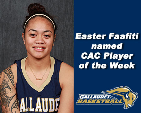 Faafiti claims her fourth CAC Player of the Week honor this season