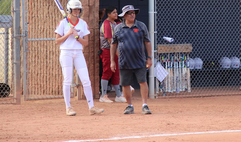 Pima softball coach Armando Quiroz earned his 500th career win at Pima on Saturday after the Aztecs won the first game 1-0 at Chandler-Gilbert Community College. The Aztecs took the second game 17-14 in nine innings. Pima improved to 35-17 overall and 26-16 in ACCAC conference play. Photo by Kyle McDaniels/AztecPress