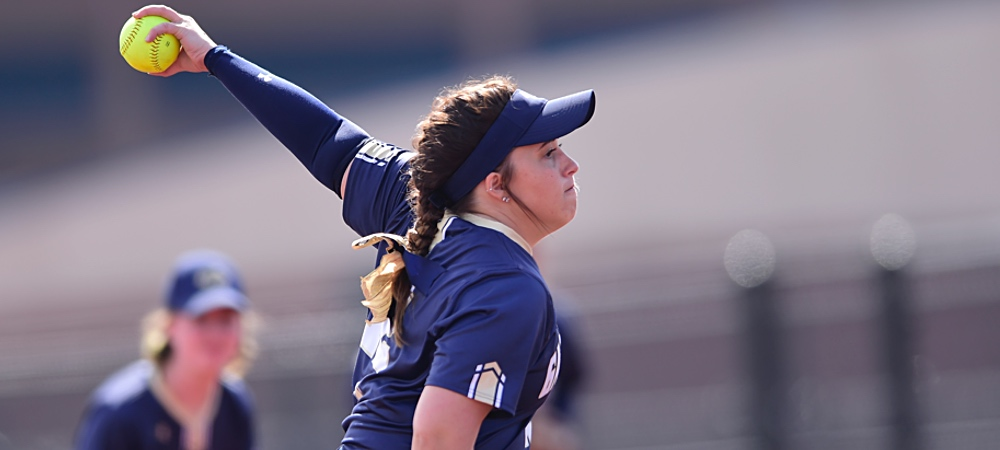 Gallaudet pitcher Alyssa Barlow pitches a pitch towards home plate