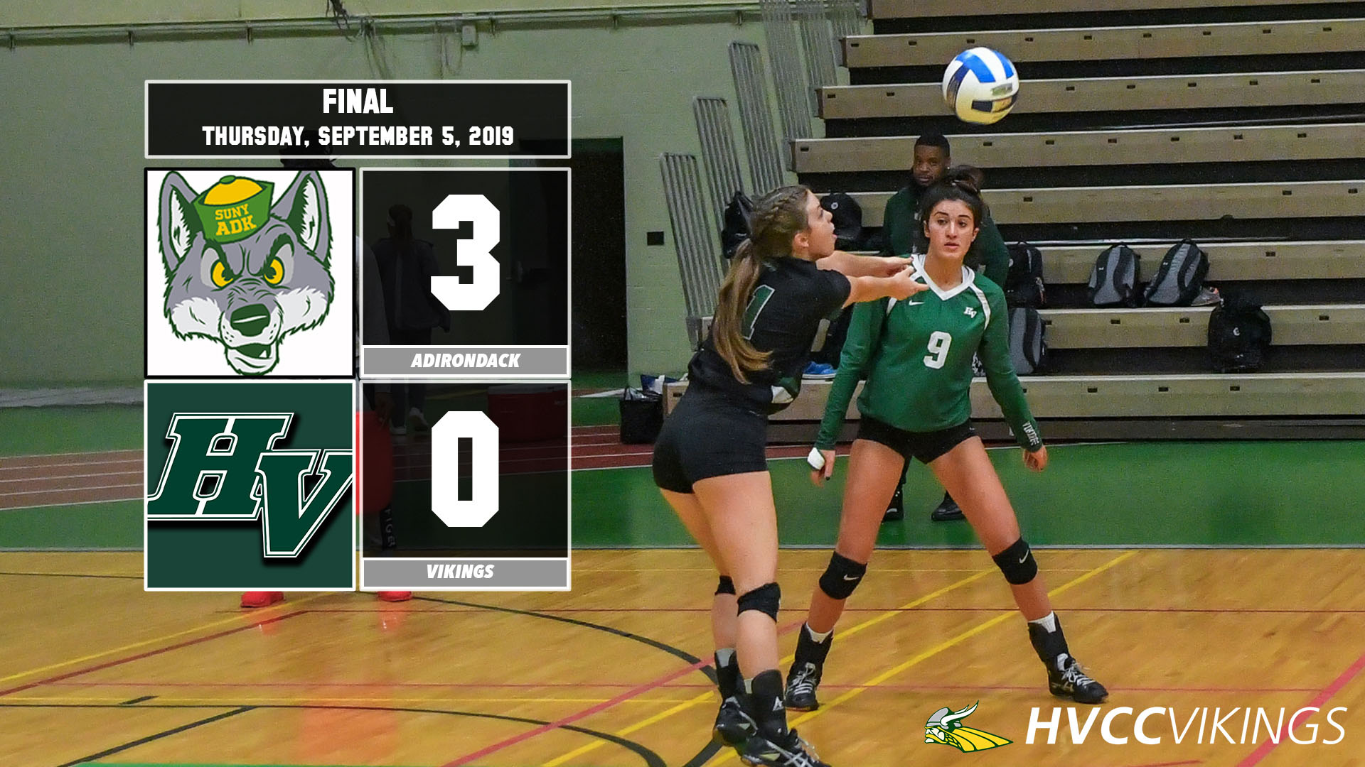 Volleyball defeated by Adirondack 3-0 on Sept. 5, 2019