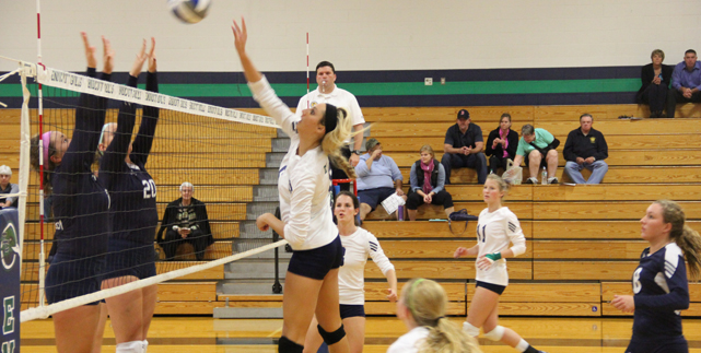 Endicott Splits Tri-Match as Dolan Reaches 1,000 Career Kill Plateau