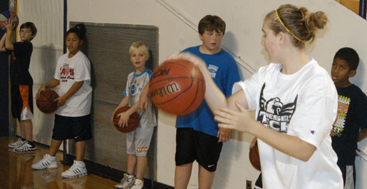 Women's basketball visits Dodson Branch School