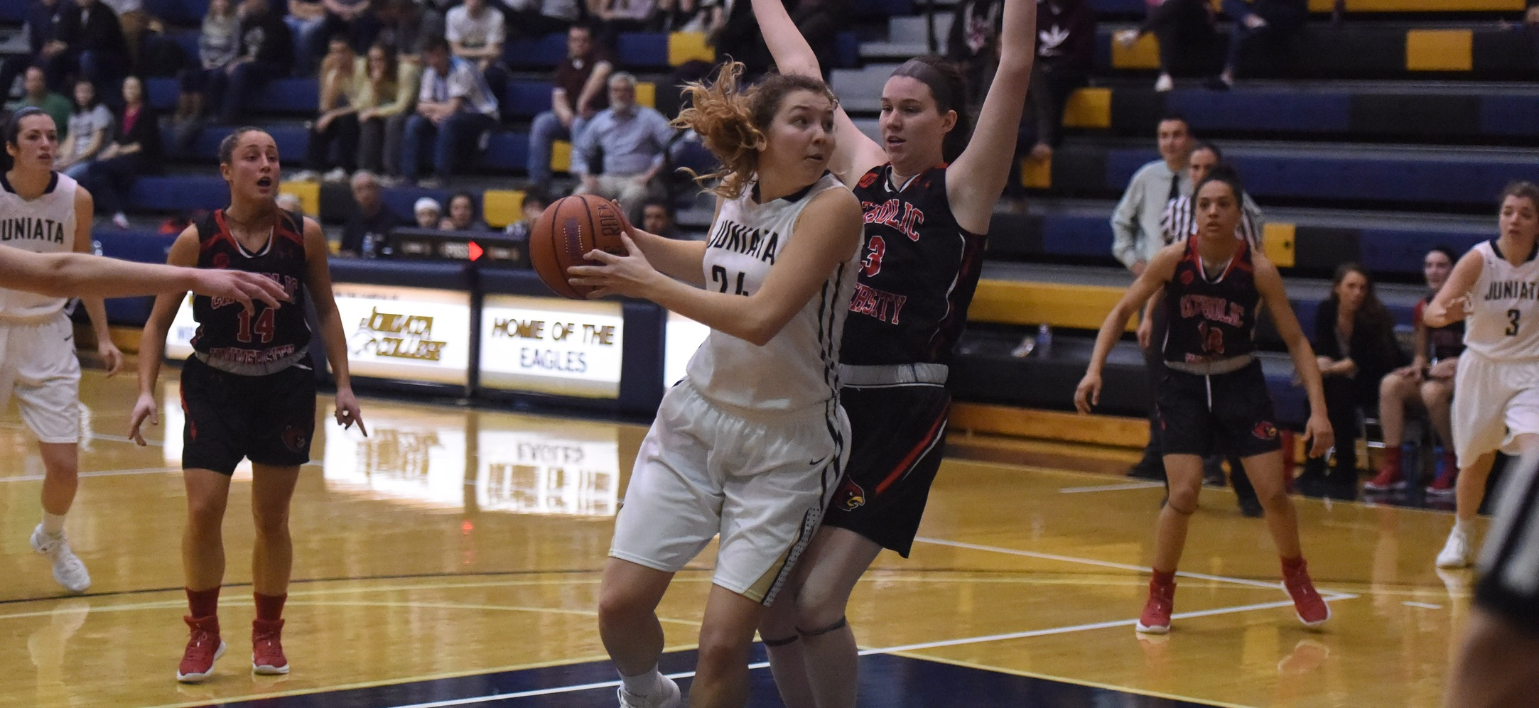 Morgan Instone notched her sixth double-double of the season as she led the team in scoring and rebounding against Catholic.