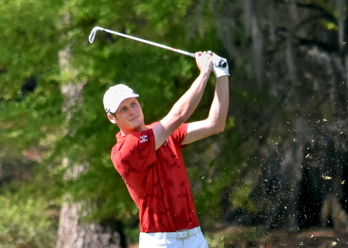 Senior Chad Ring shot an even-par 72 in Friday's second round of the USA South Athletic Conference Tournament. (Photo by Wesley Lyle)