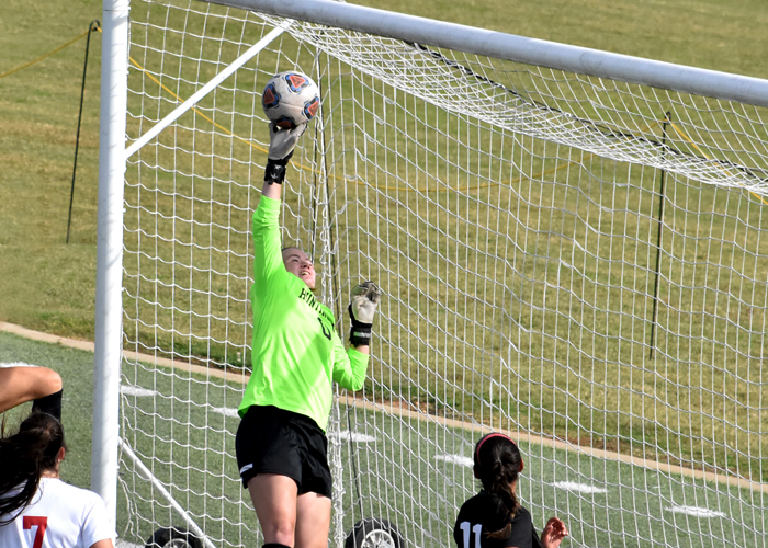 Goalkeeper Kylie Kersh, shown here last season, made a save in the final seconds of double overtime to preserve a 1-1 tie with Sewanee on Friday.