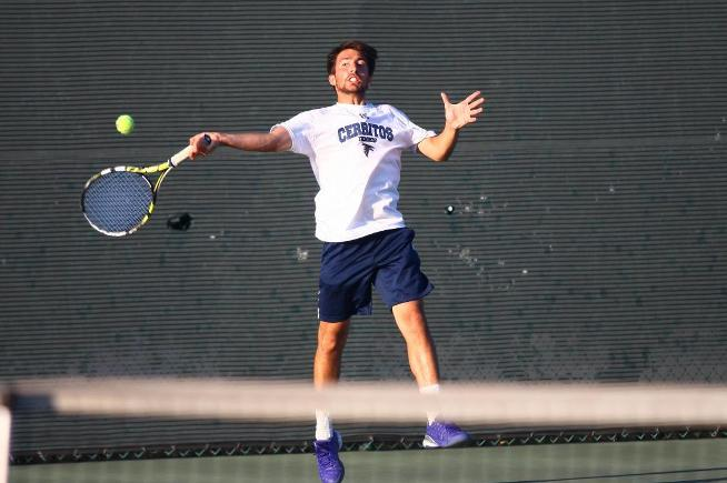 File Photo: The Cerritos men's tennis team handled Orange Coast, 9-0