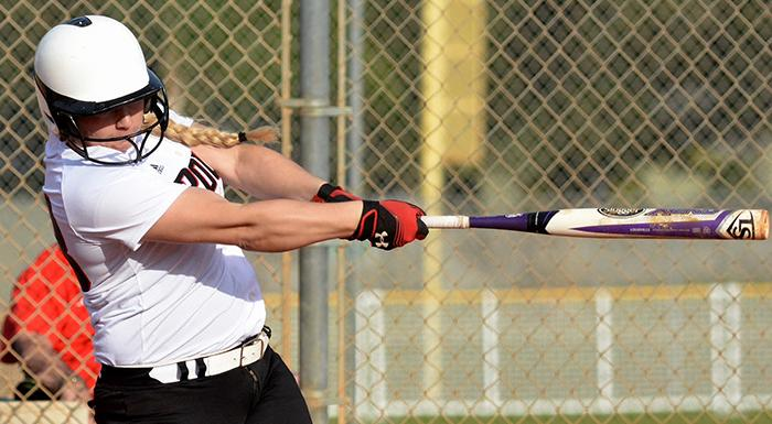 Taylor Baker had a home run, two singles, and four RBI in two wins against Miami Dade. (Photo by Tom Hagerty, Polk State.)