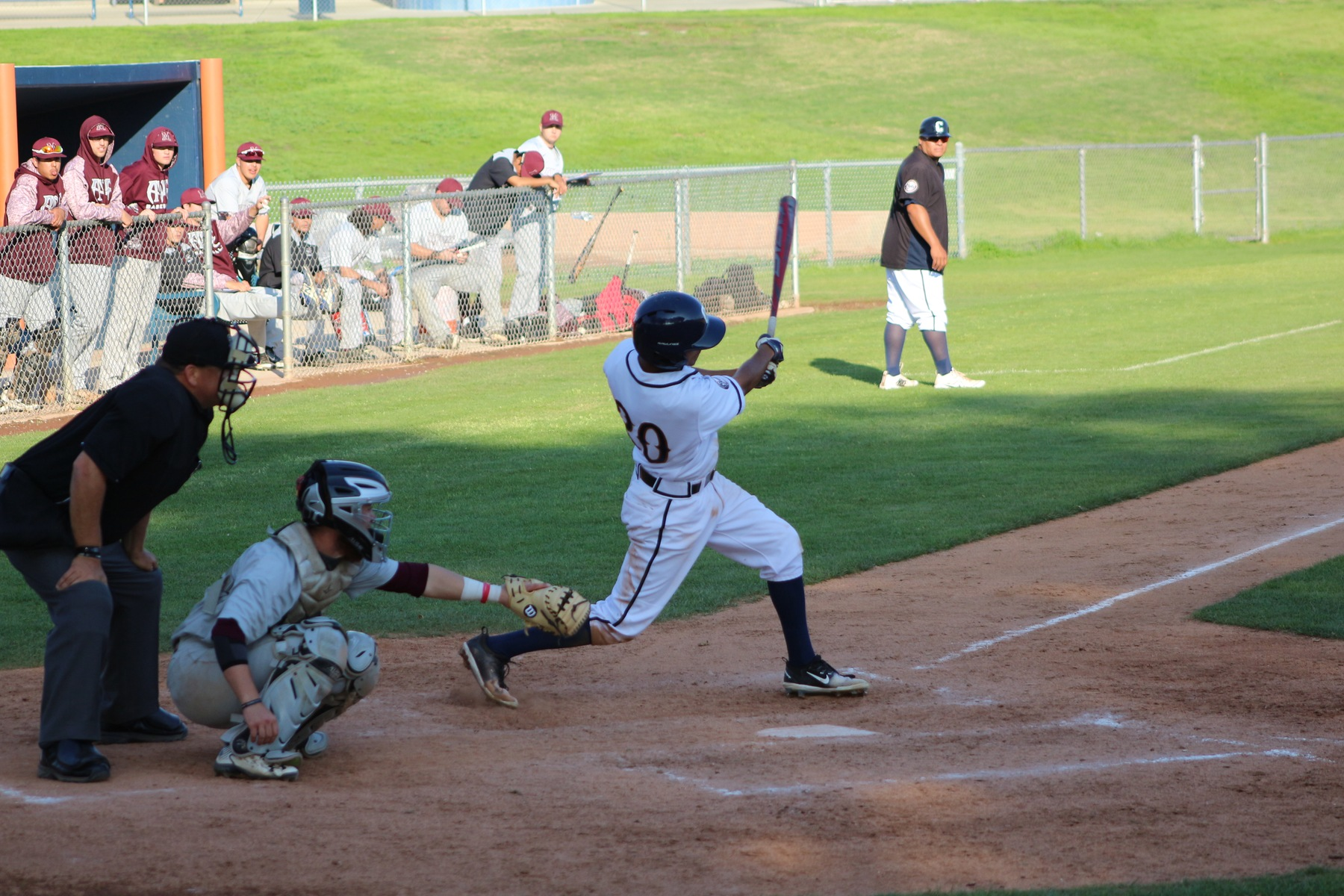 Donvyn Curiel pulls a line drive to left field.