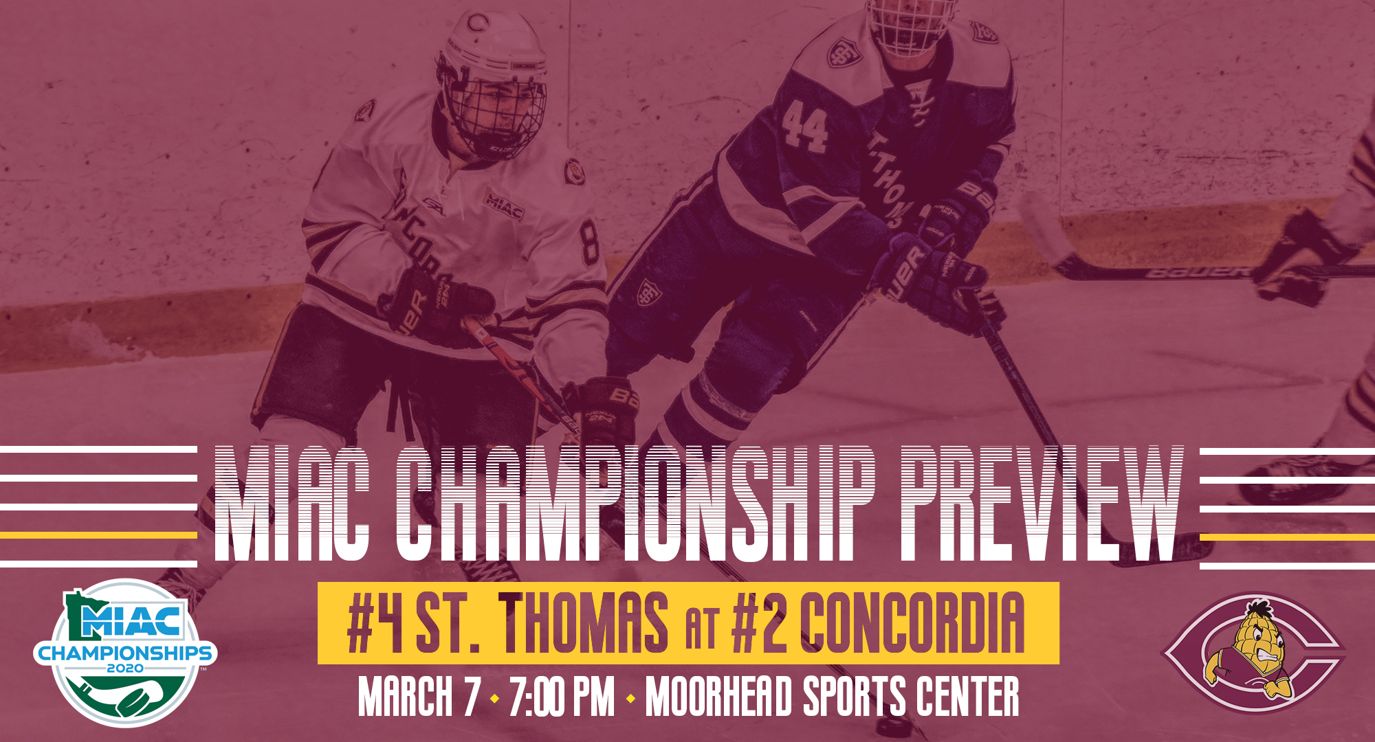 Concordia will host the MIAC Championship Game for the first time since 1987 when they play St. Thomas on Saturday, Mar. 7 at 7:00.