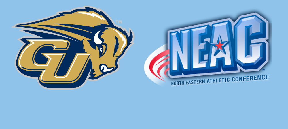 The Gallaudet University GU Bison athletic logo is on the left hand side of the image. On the right hand side is the North Eastern Athletic Conference (NEAC) logo. Both logos are large in size and are placed on a baby blue background.