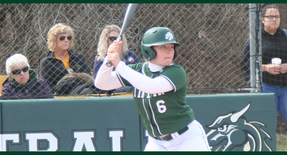 Chloe Swaisgood had one of three Dragons hits against Wayne State (Neb.).