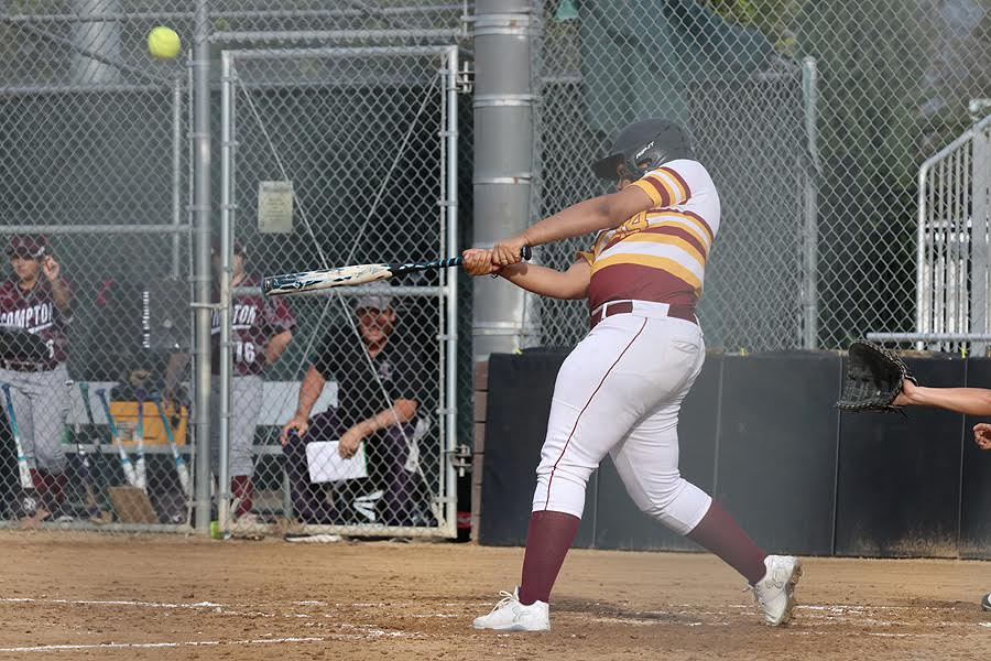 PCC's Bree Howard slugs this home run in the fourth inning of Thursday's win, photo by Richard Quinton.
