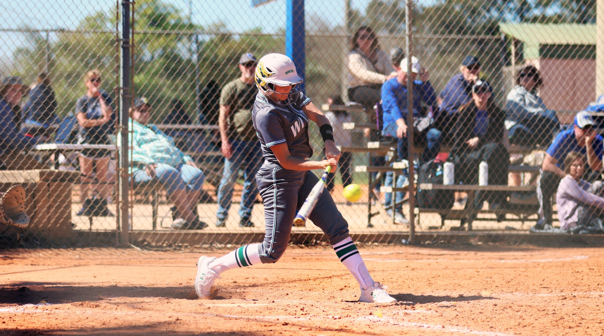 Copyright 2020. Wilmington University. All rights reserved. Photo by Mary Kate Rumbaugh. March 1, 2020 vs. Grand Valley State at Winter Haven Diamond Plex in Winter Haven, Florida. Photo of Sara Miller, who had four hits combined against Western Oregon and GVS.