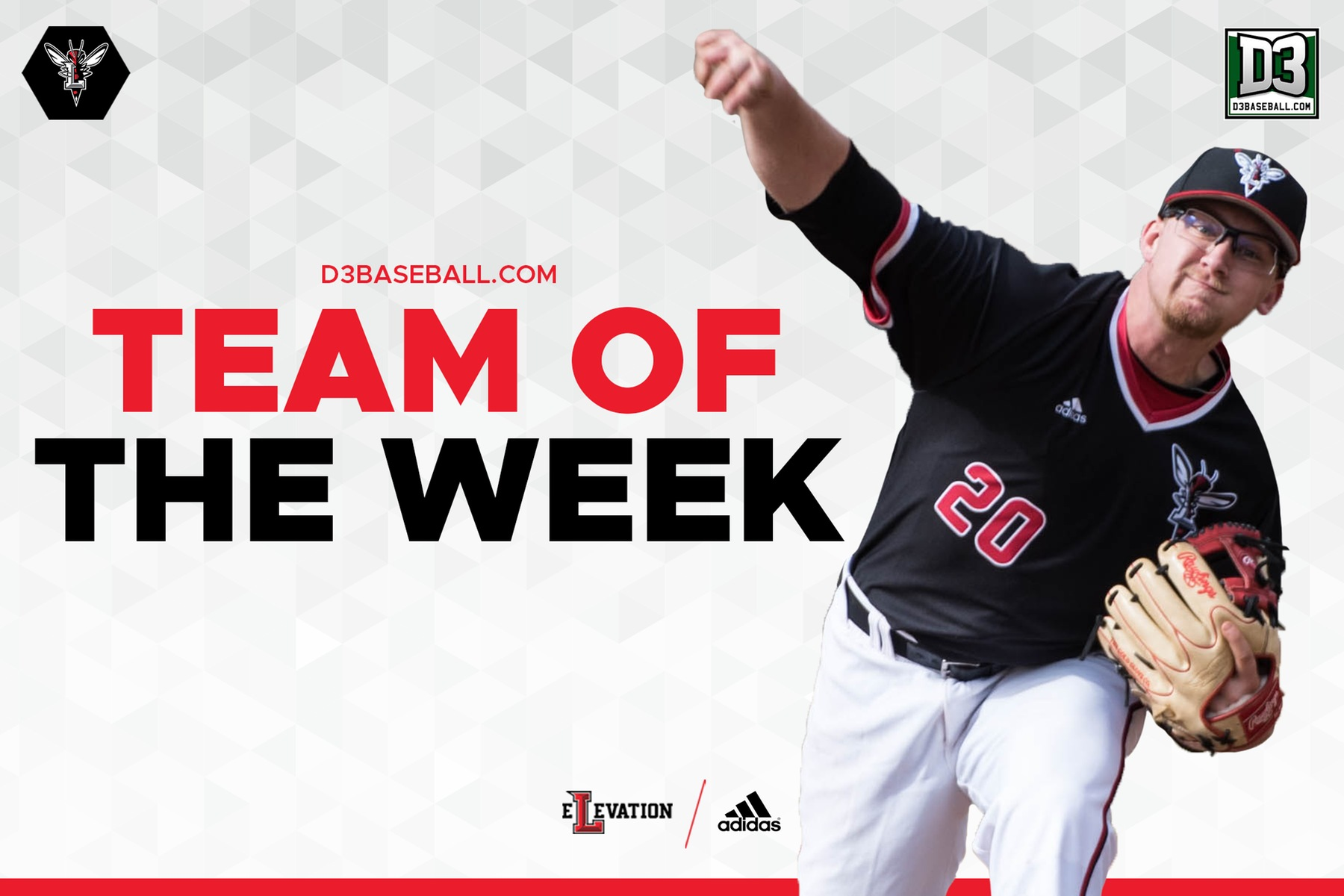 Hunter Campbell throwing a pitch over the d3baseball.com team of the week graphic on white background.