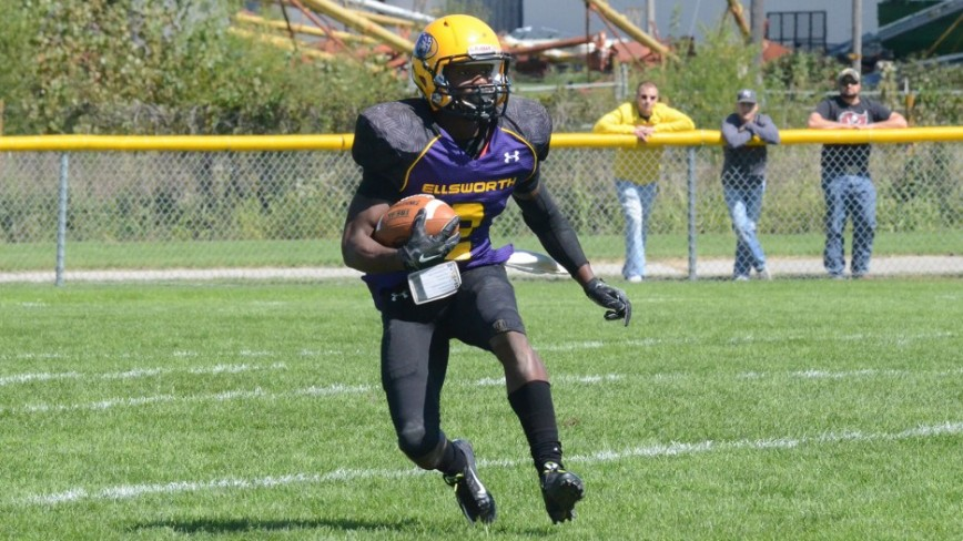 Tyrian Taylor in the Ellsworth Community College vs. Highland Community College football game.