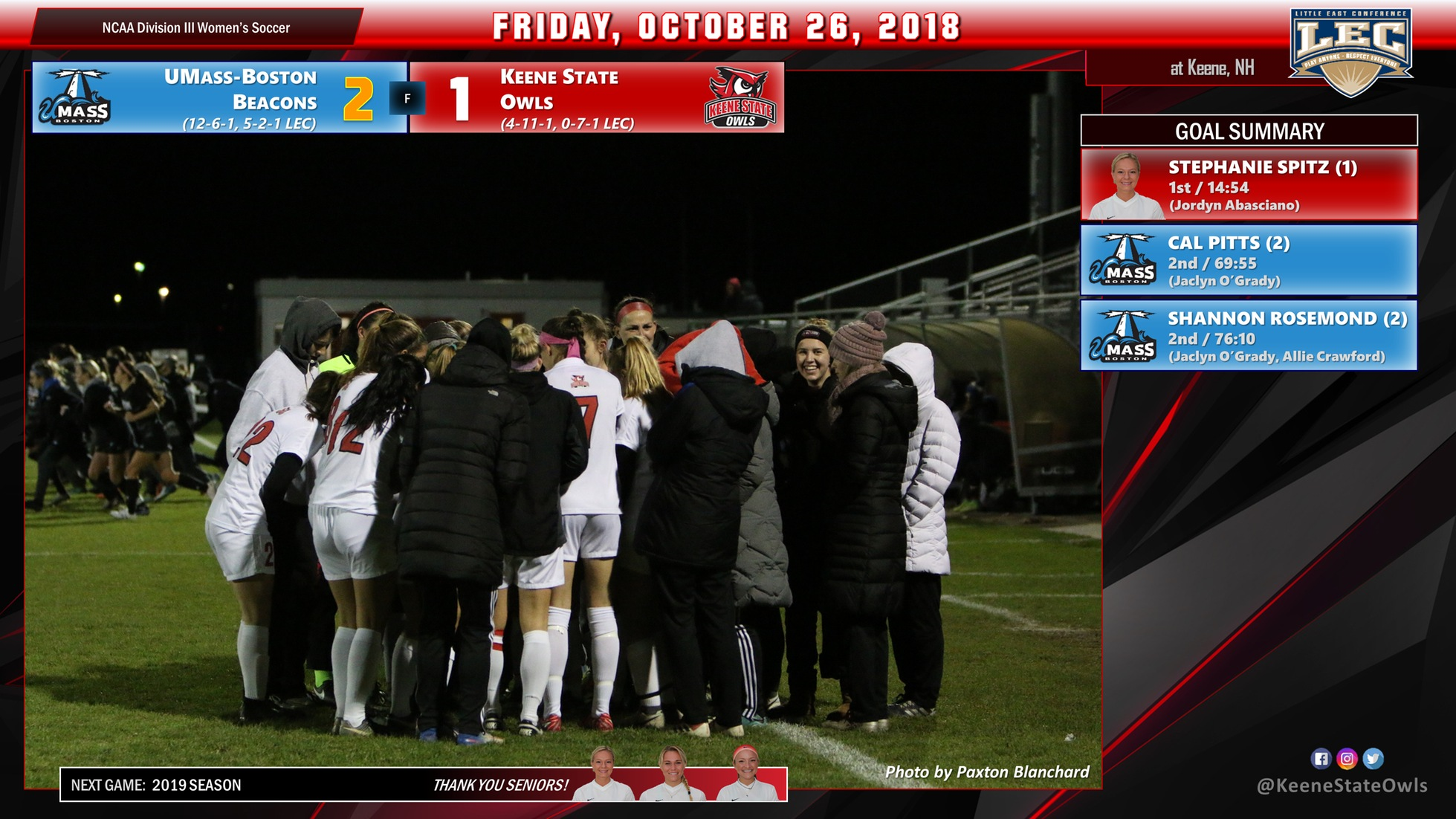 Women's Soccer Clipped by UMass Boston, 2-1