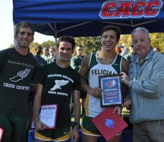 Felician men's cross-country all-CACC seniors Tim Kicha, Rob Albano and Taylor Trumbetti post with conference commissioner Dan Mara following the CACC Championship on Oct. 21 in Philadelphia. (Courtesy CACC.)