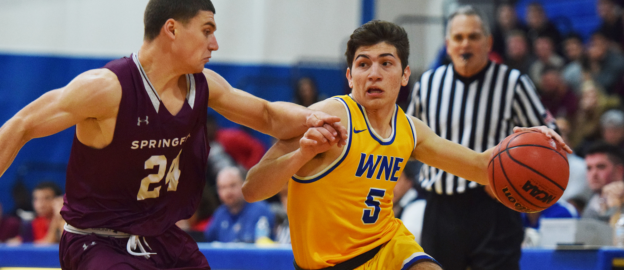 Freshman Antonio Brancato scored a season-high 23 points in Western New England's 99-96 loss to Nichols on Tuesday. (Photo by Rachael Margossian)