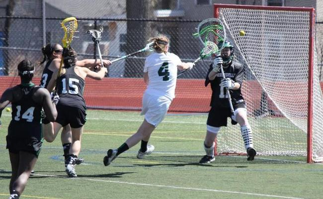 Junior Jennifer Burt scored three goals with an assist as the Keuka College women's lacrosse team defeated Lancaster Bible College 19-0 Saturday afternoon (photo courtesy of Carly Volante, Keuka College Sports Information Department).
