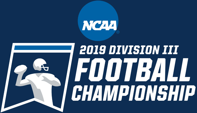 NCAA football playoff logo. Blue background, white letters