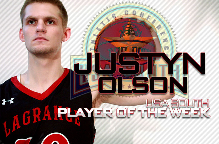 Men's Basketball: Justyn Olson named USA South Player of the Week