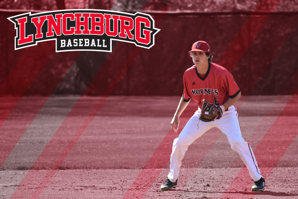 Parker Shaffer stands ready to field a ball in a baseball game. Logo: Lynchburg baseball.