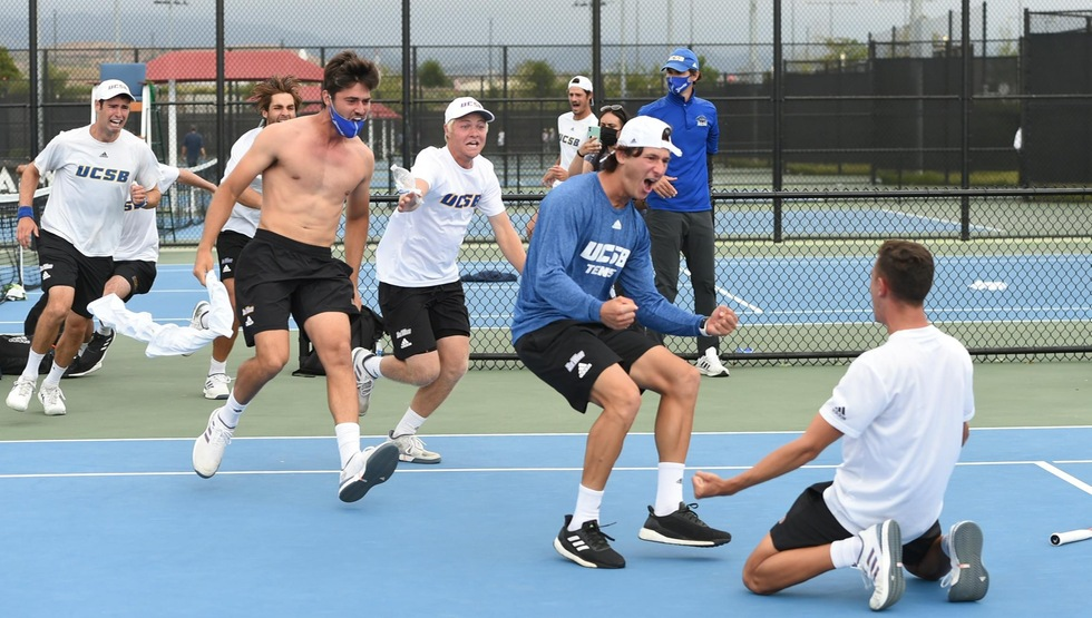 UCSB, shown here celebrating its thrilling 4-3 win over Cal Poly in the Big West Conference Championship match, will play Pepperdine in the first round of the NCAA Tournament on Friday, May 7. The match will begin at 10:00 a.m. and will be played at the David X. Marks Tennis Stadium at USC. (Photo by Robert Huskey)