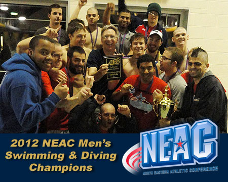 NEAC Champions! Twice as nice for Gallaudet's men's swim team, Bennett and Snape earn top awards for a second time