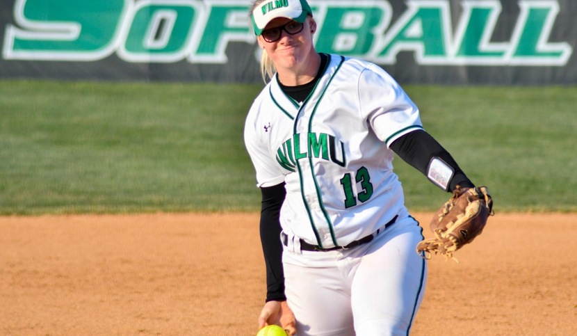 Copyright 2018; Wilmington University. All rights reserved. File photo of Makayla McCarthy who hit a home run and struck out 10 batters in a game one victory at Dominican. Photo by Luis Rivera. April 12, 2018 vs. USciences.